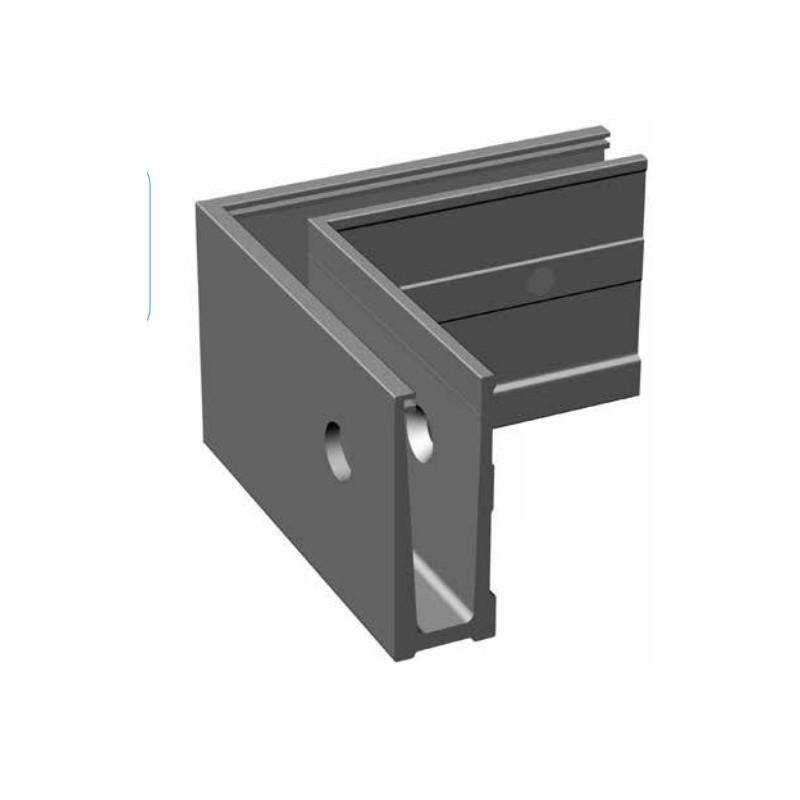 Angle ext rieur pour rail aluminium pour garde corps en for Fixation garde corps a l anglaise