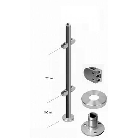 poteau inox pour garde corps en verre pour verres paisseurs 8 76 mm. Black Bedroom Furniture Sets. Home Design Ideas