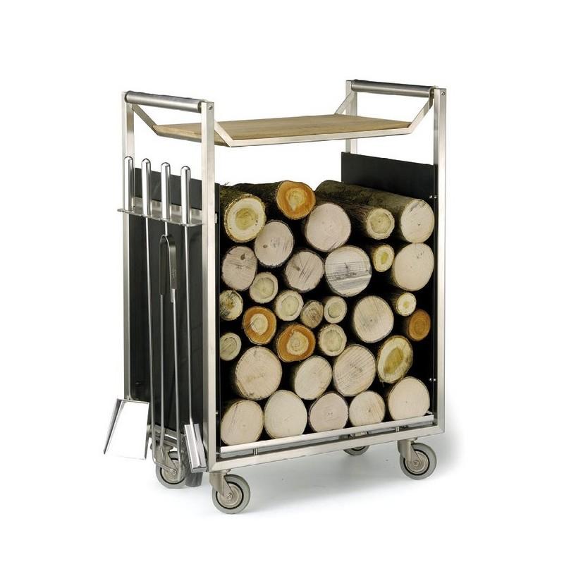 Chariot bois inox serviteur - Chariot pour bois de cheminee ...