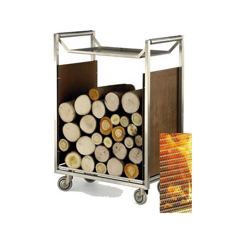 chariot bois inox. Black Bedroom Furniture Sets. Home Design Ideas