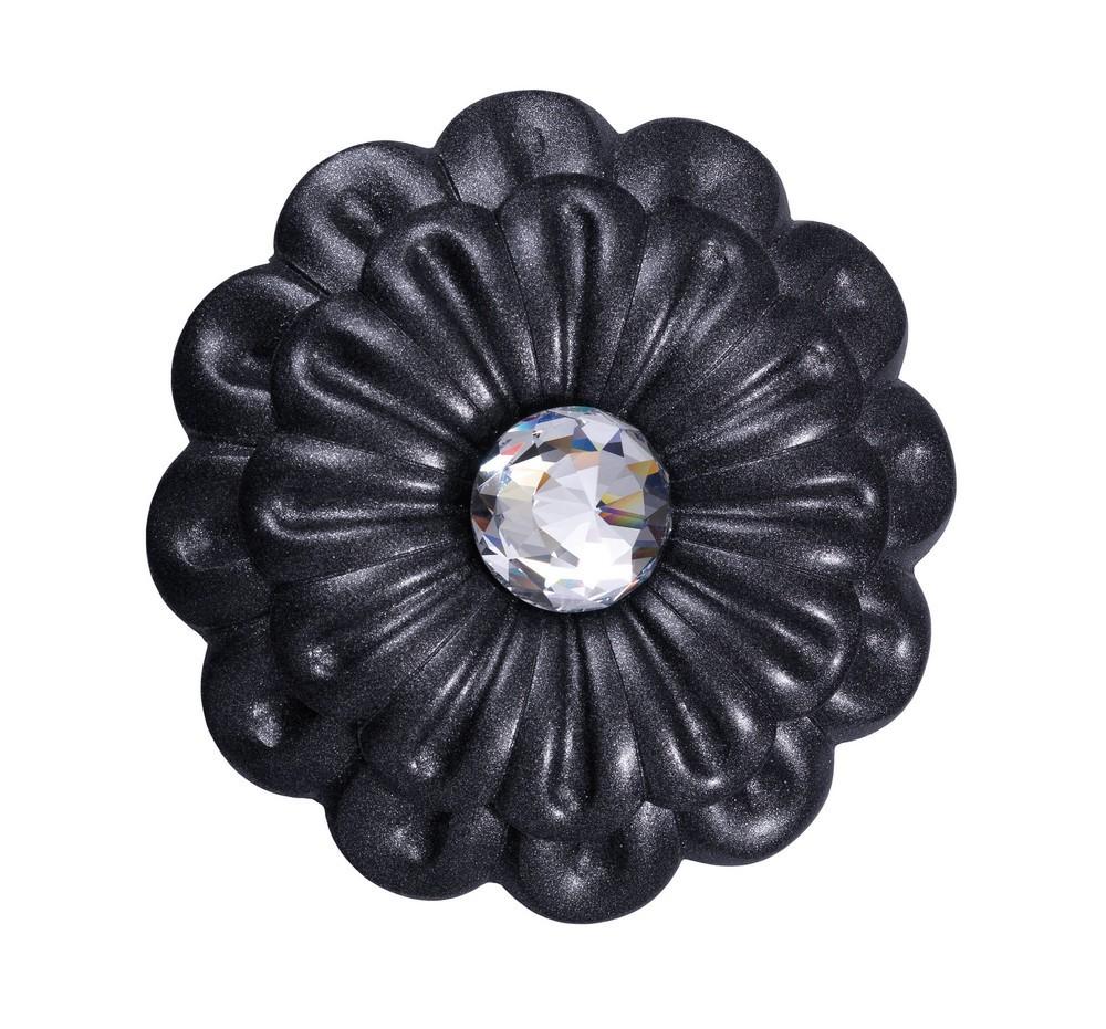fleur fer forgé noir mat avec un cristal véritable