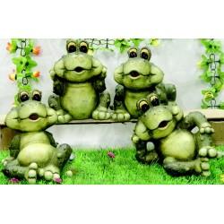 Lot de 4 grenouilles - figurine de jardins