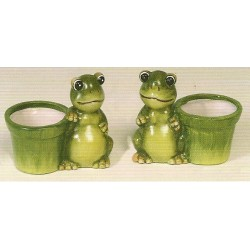 Lot de 2 pots grenouilles - figurine de jardins