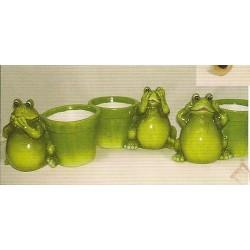 Lot de 3 pots grenouilles - figurine de jardins