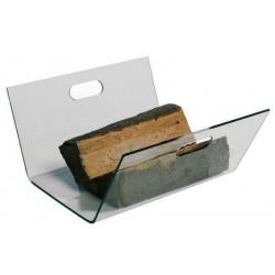 Panier à buches en verre trempé